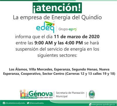 #Atención Edeq informa que habrá suspensión del servicio de energía en varios sectores de Génova